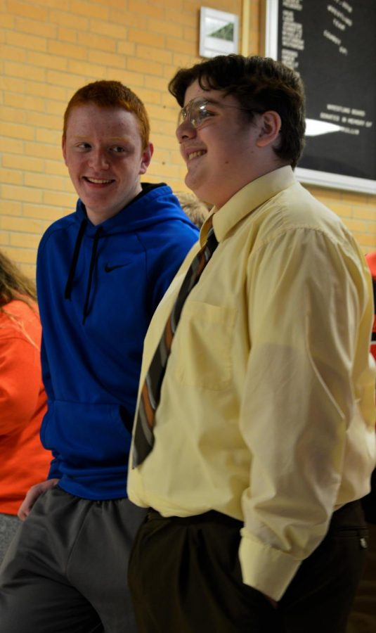 Junior Carter Priller (right) dresses up as The Office character Dwight Schrute.