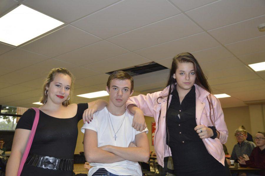 Greasers vs. Preps pictured: Sophomore Brianna Wyma (left), Junior Bryce Pedroza (center), Junior Cheyenne Skime-Hooker (right)