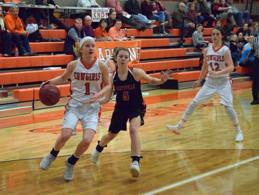 Junior Beth Holmes (1) and senior Hannah Willey (12) in a game against Marysville last season. Both are returning and are expected to start.