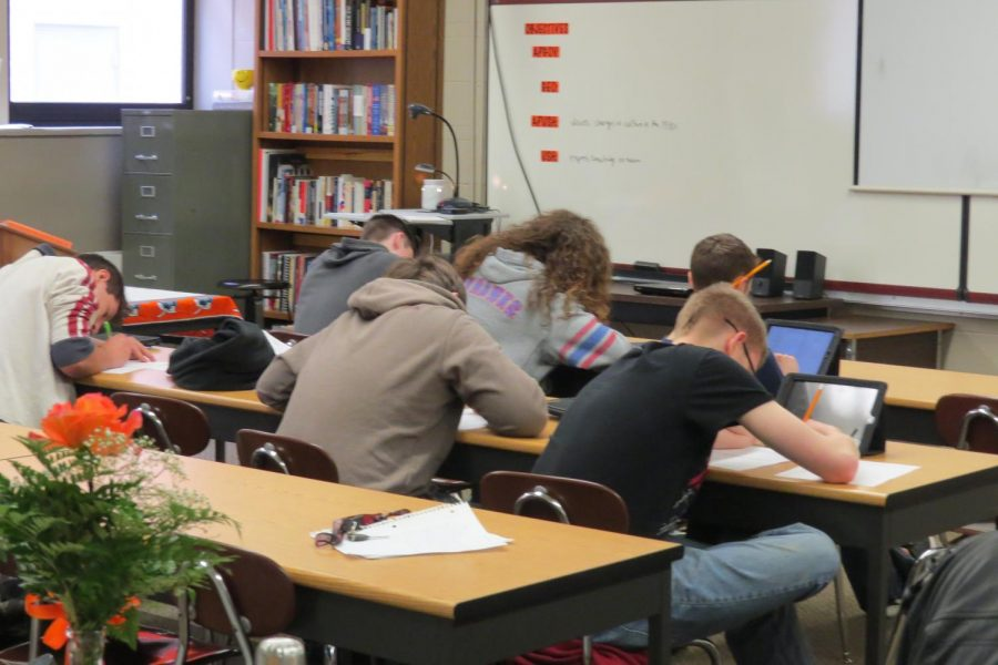 Ms. Schmidt's third block U.S. History students take a test.