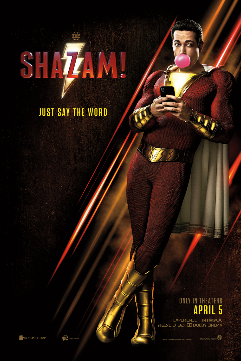 DC's poster for the movie, featuring Zachary Levi.