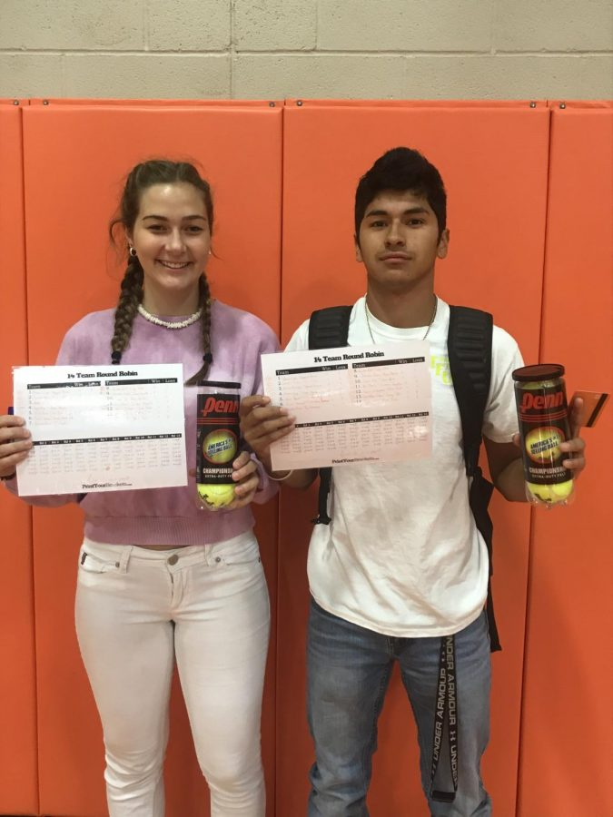 1st Block tennis champions Sarah Samsel and Christian Radabaugh pose for a photo after their win