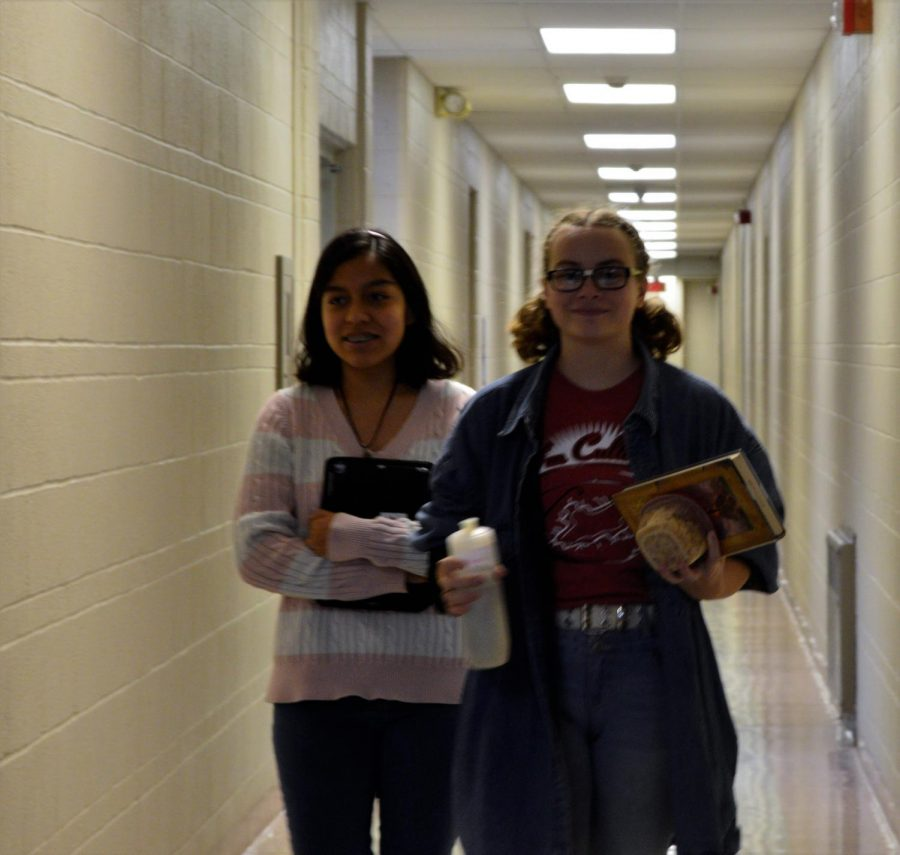 Juniors Hannah Caceres (left) and Alia Smith (right) dress to impress on the first day of Homecoming week.