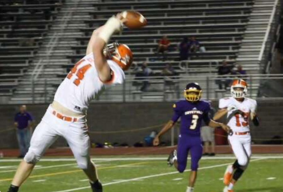 Preston Boyd (44) catches a bullet pass in the second half.
