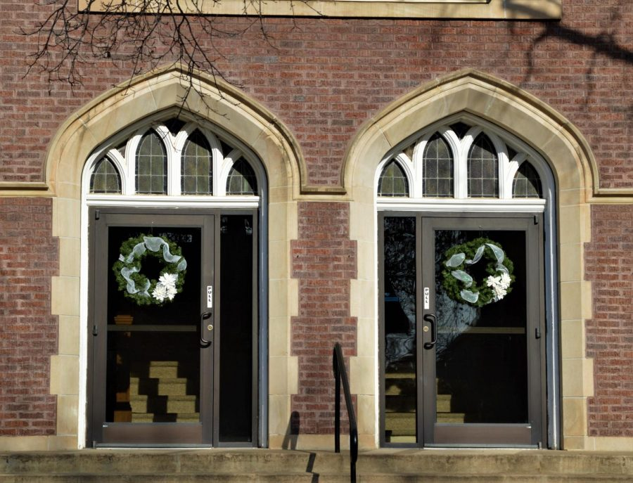 The First United Methodist church decorates