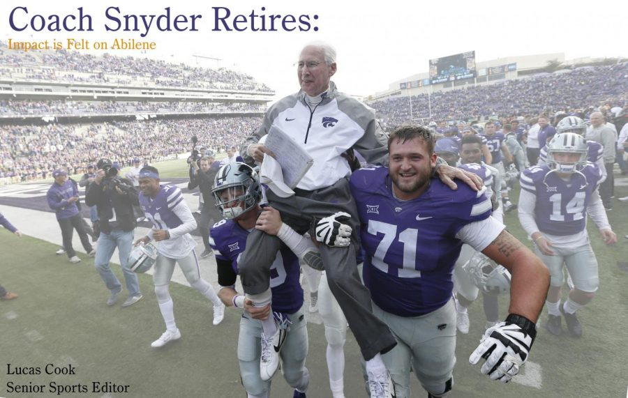 Bill Snyder is carried off the field by Colby Moore (19) and Dalton Risner (71) following his 200th career victory, just so happening to be against Kansas.