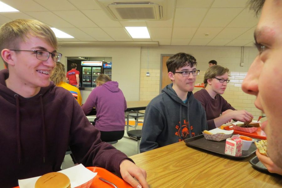 A few students (left to right; Max Dunnam, Jr., Matthew Walter, So., Cameron Smith, So., and Aaron Geissinger, Jr.) enjoy conversation at lunch.